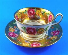 Rich Gold and Floral Rose Bouquet Royal Chelsea Tea Cup and Saucer Set