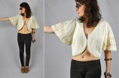 Lace Shrug BELL Sleeves Cropped Top Blouse Wedding by ItaLaVintage