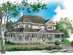 Queen Anne House Plan with 2311 Square Feet and 4 Bedrooms(s) from Dream Home Source | House Plan Code DHSW01506 Victorian House Plans, Victorian Farmhouse, Victorian Style Homes, Victorian Design, 2 Story Houses, Elevation Plan, Front Elevation, Dream House Plans, Small House Plans