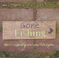 Vintage wood hand painted sign quote Gone Fishing