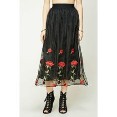Forever21 Rose Embroidered Maxi Skirt (39 AUD) ❤ liked on Polyvore featuring skirts, rose skirt, floor length skirts, full length maxi skirt, maxi skirts and elastic waist skirt
