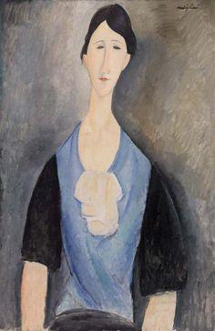 Amedeo Modigliani Italian, 1884–1920 Young Woman in Blue (Giovane donna in azzurro)  1919 Oil on canvas 35 3/4 x 23 5/8 in. (90.8 x 60 cm)