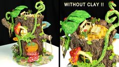 This tutorial show you How to make a Log Fairy House using mainly a Paper towels and Wood Glue. It's fun to make and you can use it as an awesome decoration . Fairy House Cake, Fairy Tree Houses, Clay Fairy House, Fairy Garden Houses, Clay Candle Holders, Mushroom Plant, Fairy Garden Doors, Candy House, Fairy Crafts