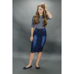 CHI-CHI NYC High waist denim pencil skirt ($35) ❤ liked on Polyvore featuring skirts, blue, blue denim skirt, pencil skirt, high-waist skirt, denim skirt and blue pencil skirt