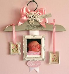 Gorgeous Baby Photo Hanger! I love this idea, and it would make a beautiful gift.