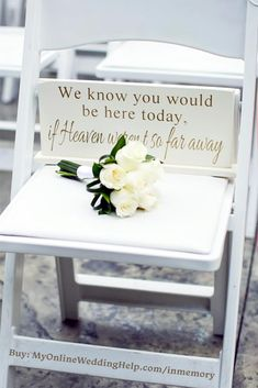 In Memorial Memory Decor (Page 1 of We know you would be here today if heaven wasn't so far away memorial sign. Wedding in memory idea for the ceremony. Or use in a display at a reception table. Buy or learn more in the My Online Wedding Help products s Different Wedding Ideas, Cute Wedding Ideas, Wedding Goals, Perfect Wedding, Wedding Styles, Dream Wedding, Wedding Day, Gown Wedding, Wedding Cakes