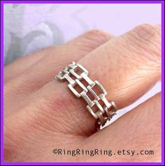 Adjustable Chain ring in sterling silver ring