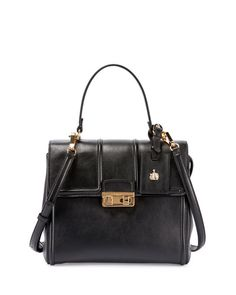 LANVIN Jiji Small Top-Handle Satchel Bag, Black. #lanvin #bags #shoulder bags #hand bags #satchel