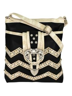 Black and Beige Chevron Buckle Crossbody Bag