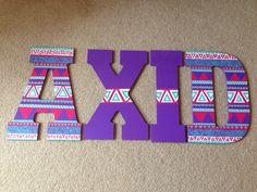 Alpha Xi Delta tribal print letters
