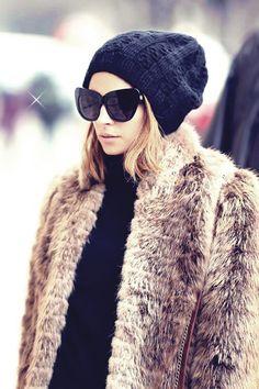{ Fur coat + black beanie }