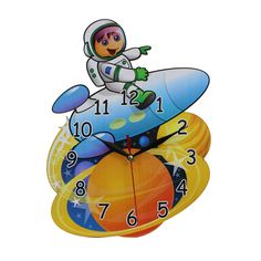 This listing is for one Home Decoration Children's Bedroom or Nursery MDF Spaceman Shaped Wall Clock. Price £14.99