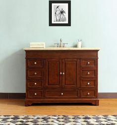 48-inch Bathroom Vanity Solid Wood Cabinet Travertine Double Ogee Top 8366B-TR #BensonsVanities #Modern