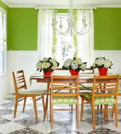 In this room, the white walls get a dash of green, not as bright as grass, not as dull as moss: http://www.bhg.com/decorating/seasonal/spring/decorate-with-springs-hot-colors/?socsrc=bhgpin042414botanicalcontrast&page=4