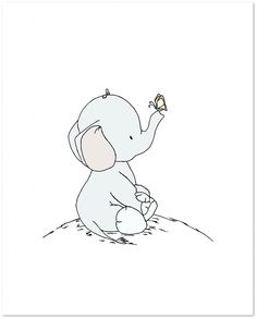 Elephant Nursery Art - Elephant and Butterfly - Great and Small