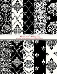 PARIS Style Design Digital Scrapbook Paper Pack FRENCH Black White DAMASK 10 Sheets 8.5 x 11 Background Papers Scrapbooking 1065gg. $3.00, via Etsy.