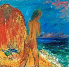 "IVAN IVARSON, ""Flicka vid havet"" (Girl by the sea). Signed I Ivarson. Painted 1932/34. Canvas 82 x 85 cm.. - Spring Modern Auction, Stockholm 572 – Bukowskis"