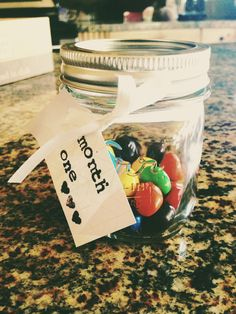 Missionary countdown: Since 730 days is too big of a number I decided to look at 24. One jar for each month, one piece of candy for each day. Ill get a new jar and a different kind of candy each month until he comes home. ♡