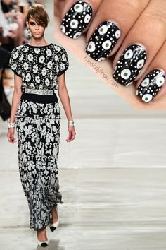 MANICURE MUSE: Chanel Resort '14 -  To emulate this look, I used Noir by YSL, Blanc by Essie, Game Changer by Ginger+Liz, and a dotter tool.