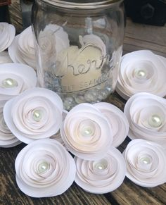 White roses. Set of 22 paper roses. Wedding flowers. Custom colors. Wedding centerpiece. Rustic centerpiece.