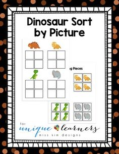 Ready to add some challenge to sorting for your students? Here's an easy way to get started! Designed for 3-5 year old children, this sorting task asks students to group by picture -- 4 different dinosaurs. I created this as a way to introduce to sorting to students who excel at matching but struggle with the more advanced skill of sorting.
