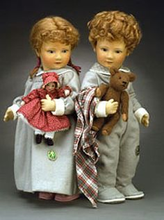 "Babes in Toyland - Timothy & Rosemary 17"", molded felt, fully jointed, with felt doll & plush teddy bear. Date of Release: 1983 Series I, Ltd. Ed. 50."