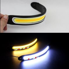 LED DRL Flexible Cars Daytime Running Light Waterproof COB White Color Day Light + Yellow ColoFog Light Turning Signal 12v 20w