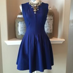 "HPTT BCBG Maxazria Fit & Flare Dress This dress is so pretty & is actually dark navy. Bust measures 16.5"" across laying flat & waist is 13"" across, shoulder to hem is 32"". 60%cotton, 35%polymide &5%elastane, fully lined. 16"" zipper down the back. Dry clean only. NWT Top Trends HP 4/1/16 chosen by@janellerenae BCBGMaxAzria Dresses"