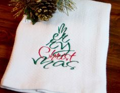 ChristmasTowel, MerryChristmas, KitchenTowel, HolidayTowel, GiftTowel, ChristmasGift, ChristmasDecor, ChristmasTree, HandmadeChristmasTowel by MyClassyThreads on Etsy