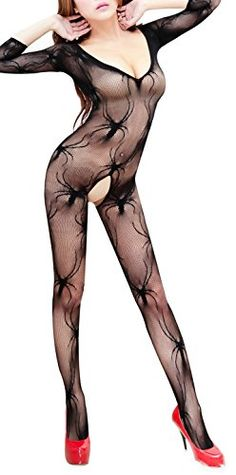 db1abf605e851 Paplan Spider Womens Open Crotch FishNet Stockings filmy Lingerie Tights