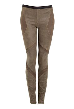 HELMUT LANG  PATINA STRETCH LEATHER ARMOUR PANEL LEGGINGS