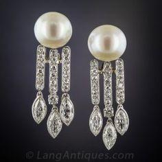 Pearl and Diamond Drop Earrings - Art Deco Jewelry - Vintage Jewelry