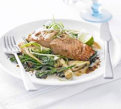 Lime & Ginger Salmon Wok-cooking the vegetables gives this heart-healthy dish a bit of crunch
