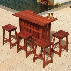 This is made from Australian Jarrah wood.  It is very durable and will last outdoors for decades similar to teak.