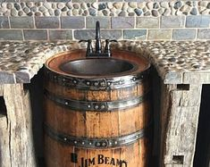 Whiskey barrel sink hammered copper rustic antique bathroom / bar / man cave vanity wine oak barrel vanity bourbon CUSTOM personalized - November 10 2019 at