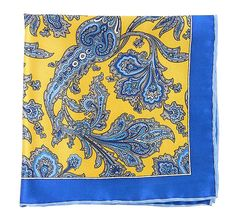 Silk Pocket Square-Printed Provincial Yellow, French Blue Paisley from NELSON WADE in Scottsdale. $37