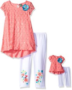 Dollie & Me Big Girls' Hi-Lo Tunic with Legging and Matching Doll Outfit, Coral/White, 8. Lace and glitter dot overlay on bodice. Functional center back button. Flower applique with rhinestone center. Floral screen-print on legging. Matching doll garment.