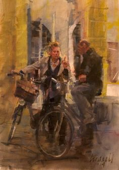 Bicycle Painting, Bicycle Art, Bike, Great Paintings, Beautiful Paintings, Oil Paintings, Landscape Paintings, Painting People, Figure Painting