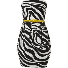 Black And White Zebra Print Belted Dress ($22) ❤ liked on Polyvore