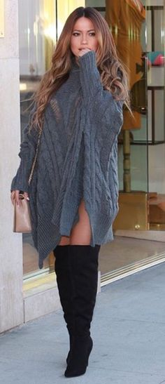 Image result for sweater dress knee high boots