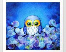 OWL ART - Owl Painting Print - Whimsical Owl Watercolor Art - Cute Owl Art