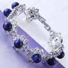 Blue Lapis Lazuli Beads Pave Flower Inlaid Crystal Bracelet Bangle Charms