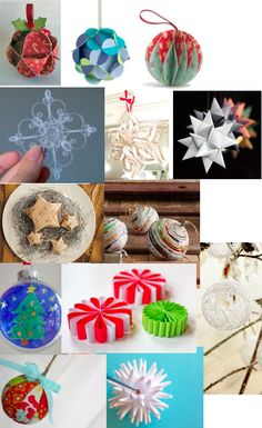 If you have some paper and feel a bit of Christmas creativity, you've come to the right place! Here are some great (mostly) paper ornamen. Paper Christmas Decorations, Paper Christmas Ornaments, Christmas Crafts For Kids, Diy Christmas Gifts, Holiday Crafts, Holiday Fun, Christmas Holidays, Christmas Ideas, Felt Ornaments