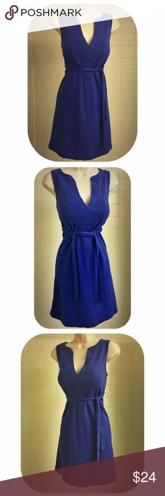 """HP Royal Blue Sleeveless V-Neck J. Crew Dress Host Pick:Vacation Vibes Party, 7/4 This beautiful royal blue sleeveless v-neck dress from J. Crew is perfect for any occasion where you want a special dress that's easily dressed up or down-for work or play. Below bottom of the v-neck, an attached sash ties in the front or side, cinching the waist & creating a flattering silhouette. Or w/sash tied in the back, a totally different look can be had wearing it as a shift dress w/ more curves. 34""""…"""