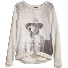 H&M Sweatshirt ($18) ❤ liked on Polyvore featuring tops, hoodies, sweatshirts, sweaters, shirts, grey, gray top, cotton sweatshirt, sweatshirts hoodies and gray sweatshirt