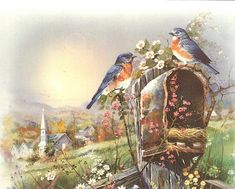 birds on the mailbox Scenery Pictures, Cottage Art, Christmas Drawing, Bluebirds, Wildlife Art, Illustrations, Bird Art, Beautiful Paintings, Beautiful Birds