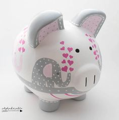 Elephant Hearts Personalized Piggy Bank in Hot Pink, Light Pink and Grey The Little Couple, Personalized Piggy Bank, Baby Stuffed Animals, Nursery Art, Nursery Ideas, Porcelain Ceramics, Clay Projects, Baby Shower Gifts, Hot Pink