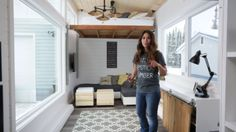 Forget the stairs - get n elevator.   Anna White's Open Concept Modern Tiny House with Elevator Bed