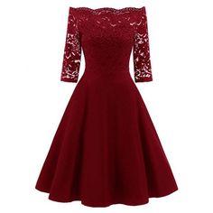 Lace Panel Off The Shoulder Vintage Flare Dress - Wine Red 2xl Mobile