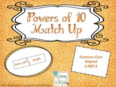 "5th grade CCSS 5.NBT.2 is covered with this Powers of 10 Match Up Game. Students practice mutliplying and dividing by powers of 10 and find the answer by ""matching up"" the puzzle piece.http://www.teacherspayteachers.com/Product/Powers-of-Ten-Match-Up-Game-Common-Core-Aligned $$"